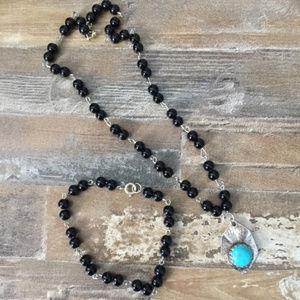 Vintage Bead Faux Turquoise Necklace Bracelet Set